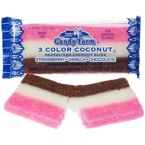 Old-Fashioned Coconut Slice Bars 24ct Case - Neapolitan Chocolate/Vanilla/Strawberry