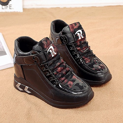 Sneakers Casual Alte Alla Moda Da Donna, Scarpe Con Zeppa, Scarpe Con Tacco Nascoste Tacco Nero Black2