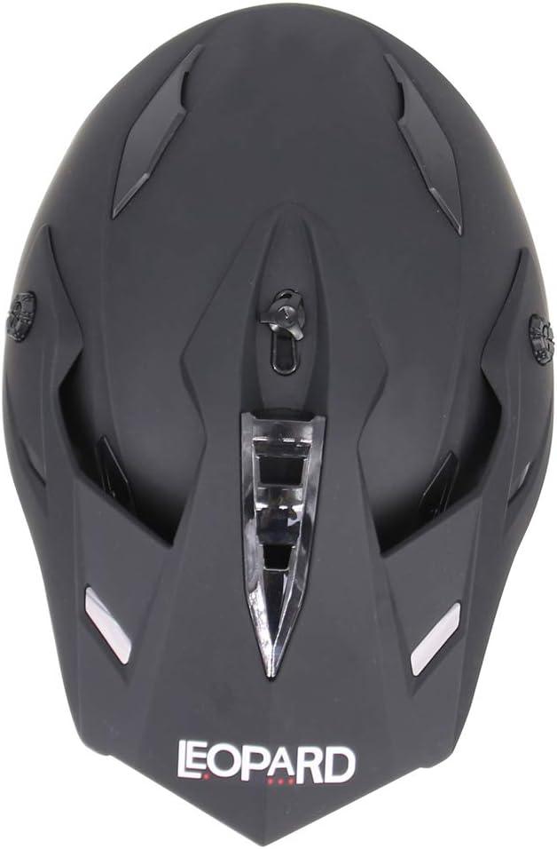 63-64cm 12cm + Gloves XXL Leopard LEO-X307 Motocross Helmet set {Matt Black//Blue XXL + Goggles} Motorbike Motorcycle MX Helmet