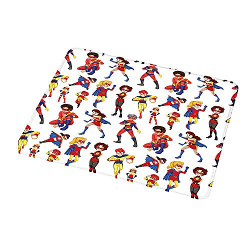 Personalized Custom Gaming Mouse Pad Superhero,Super-heroines Male Female Powers Comic Childhood Imaginary Characters Image,Red Blue Yellow,Personalized Design Non-Slip Rubber Mouse pad 9.8