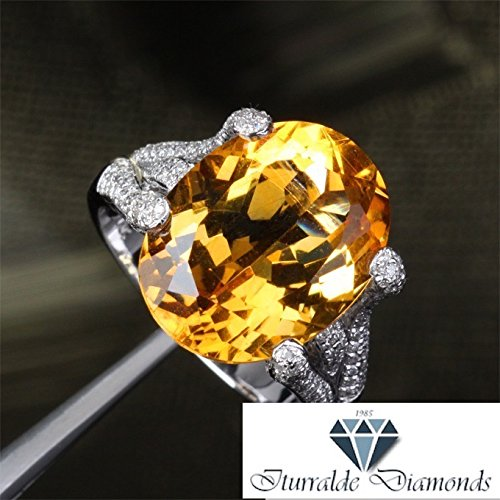 14k 13X17mm Oval Cut Citrine Pave Diamond Frog Prong Engagement ()
