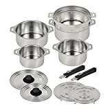 Made in Japan All Stainless-steel Cookwares Set , Removable Handle , 4 pots/2 lids/2 handles/2 steaming tables/1 drainer