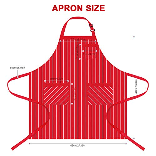 Syntus 2 Pack Adjustable Bib Apron with 3 Pockets Cooking Kitchen Aprons for BBQ Drawing, Women Men Chef, Red/White… 2
