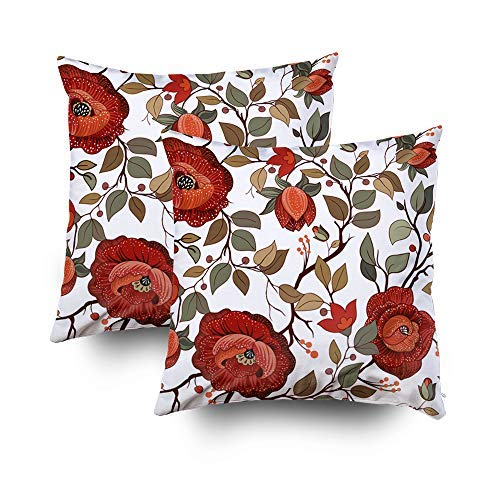 MurielJerome Pillowcase Christmas Colorful Floral Wallpaper Big Flowers Plants 18X18 Inch 2 Set, Decorative Throw Custom Pillow Case Cushion Cover Gift Home Decor