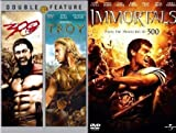 Epic Ancient Battle Action Movie Triple Feature - Troy & 300 & Immortals 3 DVD Bundle