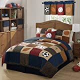 3 Piece Boys Tan Navy Red Brown Royal Blue Grey Full Queen Quilt Set, Sports Themed Bedding Patchwork Plaid Beige Basketball Soccer Football Baseball Stylish Fun Colorful Bold Athlete, Cotton