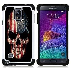 /Skull Market/ - Skull Devil Pattern For Samsung Galaxy Note 4 SM-N910 N910 - 3in1 h????brido prueba de choques de impacto resistente goma Combo pesada cubierta de la caja protec -