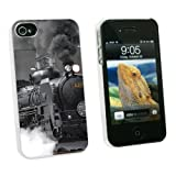 apple steam - Graphics and More Steam Train Engine Locomotive - Snap On Hard Protective Case for Apple iPhone 4 4S - White - Carrying Case - Non-Retail Packaging - White