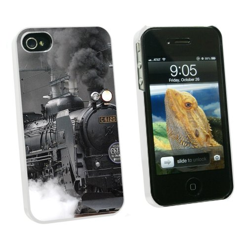 Graphics and More Steam Train Engine Locomotive - Snap On Hard Protective Case for Apple iPhone 4 4S - White - Carrying Case - Non-Retail Packaging - White (Telephone Locomotive)