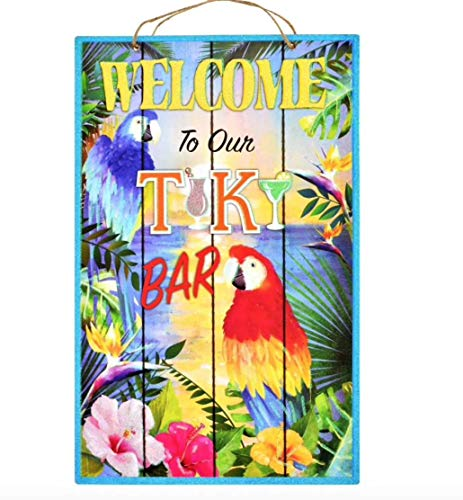 (Summer Welcome Tropical Tiki Beach Party Decoration Signs (Welcome to Our Tiki Bar))