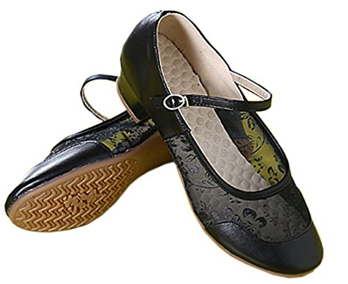 VECJUNIA Ladies Low Split Heel Softsole Mesh Ballroom Dance Training Shoes Black 8CMRj