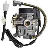 50cc scooter carburetor 4 stroke - GOOFIT Carburetor with Accelerator Pump for 4 Stroke GY6 49cc 50cc Engine ATV Scooter
