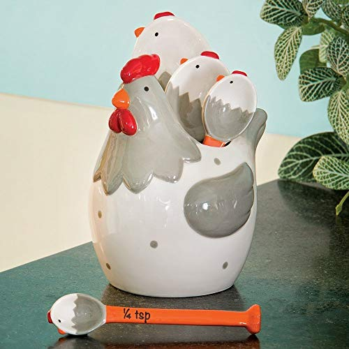 Partes y piezas - cucharas medidoras de cerámica pollo - caprichoso, y práctico pollo figura decorativa con 4 cucharas...