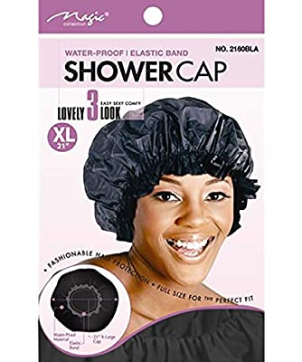 "XL X-Large Shower Cap, Could Also Be Used in Deep Hair Conditioning, Hair Protection, Full Size 21"" Extra Large Water-Proof Shower Cap with Comfortable Elastic Band"