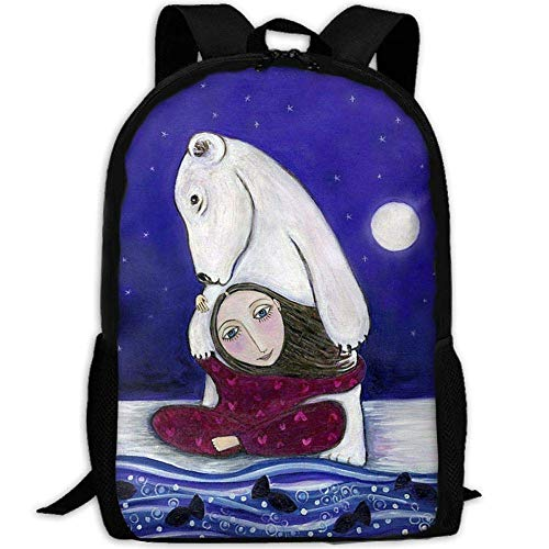 (biernsege Most Durable Lightweight Classic Water Resistant School Backpack One Size - Polar Bear Art Print Whimsical Folk Art Childrens Wall Decor)