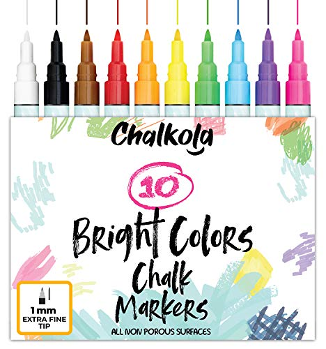 - 1mm Extra Fine Tip Chalk Markers - Pack of 10 neon Color pens | Non-Toxic, Wet Wipe | For Chalkboard, Window, Blackboards, Glass