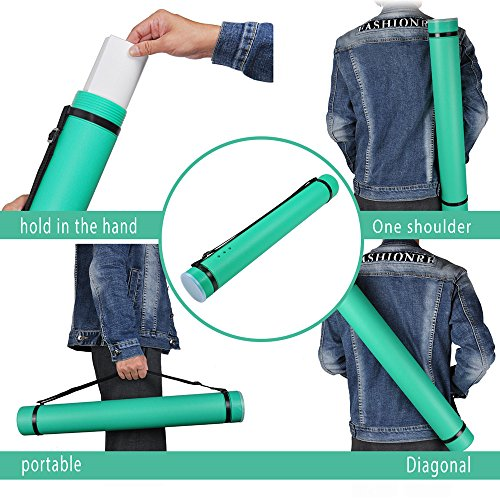 Document Storage Tube, DEWEL Plastic Expandable Carrying Case Store and Travel Documents Blueprints Artwork and More (Green)