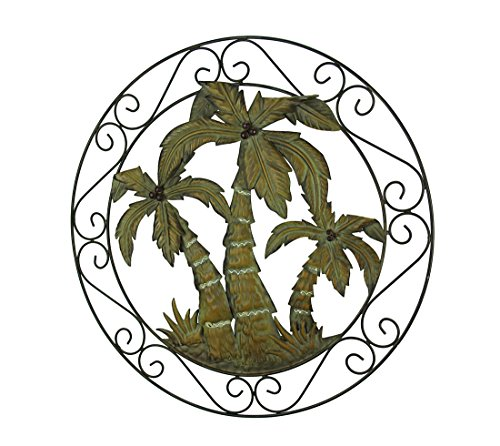 Zeckos Antique Bronze Scroll Motif Tropical Palm Trees Wall Hanging