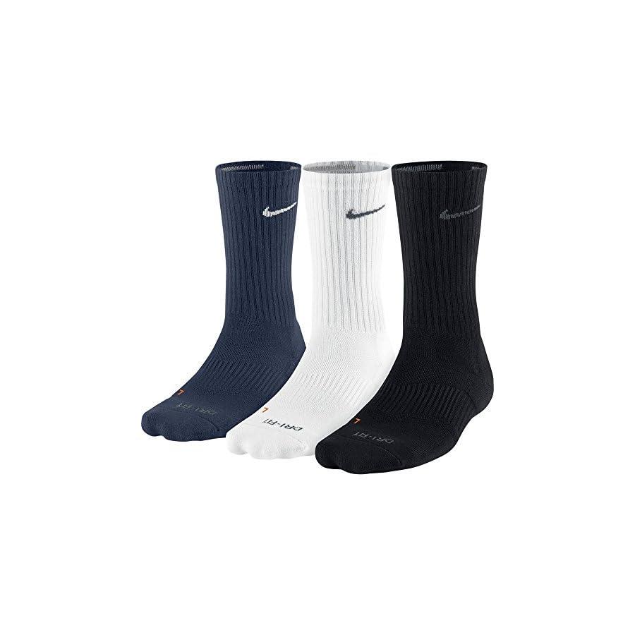 Nike Mens Dri Fit Half Cushion Crew Socks,Black (SX4827 904) / White/Obsidian,Large (Men's Shoe 8 12, Women's Shoe 10 13)