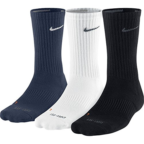 Nike Mens Dri Fit Half Cushion Crew Socks,Black (SX4827 904) / White/Obsidian,Large (Men's Shoe 8 12, Women's Shoe 10 13)
