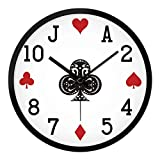 GuoEY Wall Clock 12cmQuartz for Decoration Living room modern in the calm personality Simple poker-a 12inch