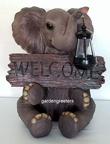 - Gardengreetersllc SOLAR ELEPHANT WITH WELCOME SIGN STATUE