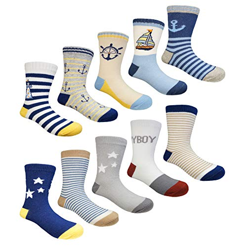 Muyubei Fashion Mediterranean Style Boy and Girl Kids Wearing, Novelty Boat and Anchor Pattern, Star,Cartoon, Stripes, White,Blue Color Cotton Babies Socks,10 Pairs (Lighthouse, M-4-6 -