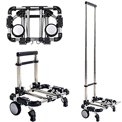 Congerate Heavy Duty And Durable Portable Folding Telescopic Handle Shopping Cart Push And Haul Trolley Airport Luggage Aluminum Alloy Household Supermarket Cart With 66 lbs/30KG Capacity