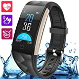 Fitness Tracker Smart Wristband Bracelet with Heart Rate & Blood Pressure Monitor IP67 Waterproof Wireless Bluetooth Call Remind Auto Sleep Monitor Sport Pedometer Activity Tracker for Android iPhone