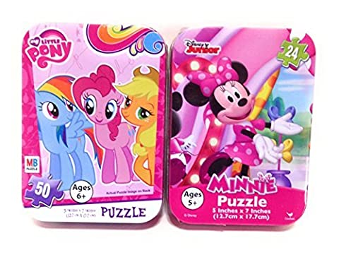 Mini Puzzles in Travel Tin Cases: My Little Pony and Disney Polka Dot Minnie Mouse (24 and 50 Pieces) Girls Collectible Set of - Mini Tin Case