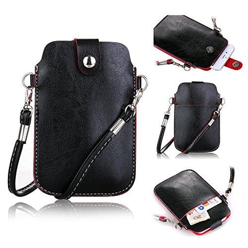 Crazy Panda Black Color Universal Portable Phone Purse Bag Pouch Soft Shoulder Strap Wristlet Wallet Case for iPhone 5S iPhone 6 6s & Galaxy S3/S5/S6/S6edge/S7 (Case Phone Panda For Galaxy S3)