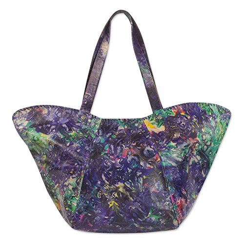 NOVICA Multicolored Leather Tie-dyed Shoulder Bag, 'Colorful Cosmos' by NOVICA