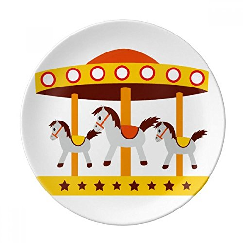 Amusement Park Color Carousel Illustration Dessert Plate Decorative Porcelain 8 inch Dinner Home