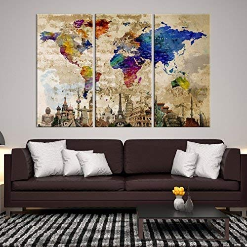 3 Piece Watercolor World Map Canvas Print