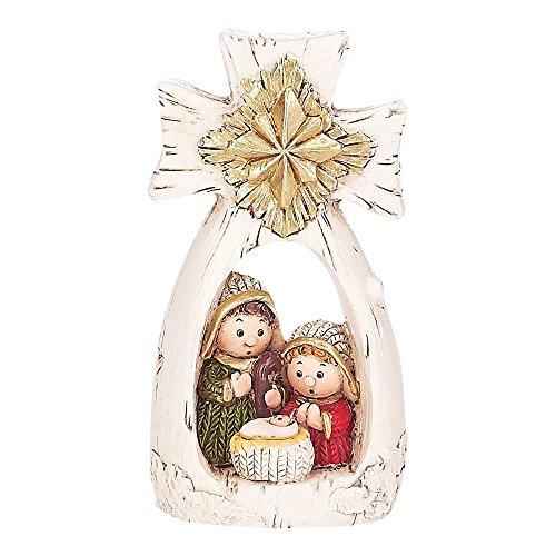 Whimsical Holy Family Within Cross 2 x 3.5 Resin Stone Christmas Nativity Scene Figurine