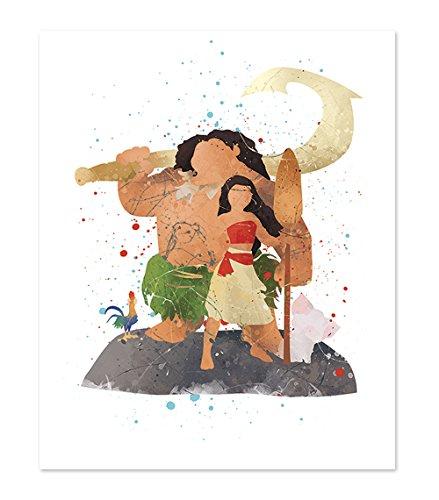 PGbureau Maui Moana poster - Inspired Watercolor Wall Art - Art Print Wall Poster Home Decor illustration -8x10