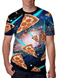 Leapparel Unisex Flying Pizza in Cosmos Printed Personalized Cool T Shirts Tees Clothing XL