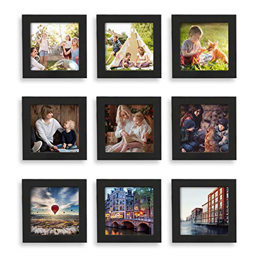 Home Margo, 4x4 Frames, Black Picture Frame Instagram Photo Collage Frame, Set of 9, 4 Inch Square Small Picture Frames ()