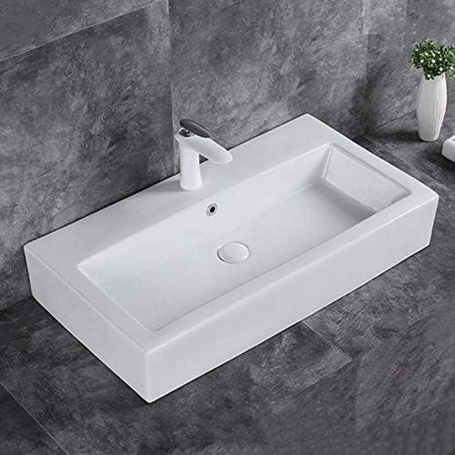 陶器製 手洗いボウル セラミックの上カウンター盆地トイレ洗面台の上カウンター家庭用トイレセラミック盆地ホワイト (Color : White, Size : 80x43.5x14cm)