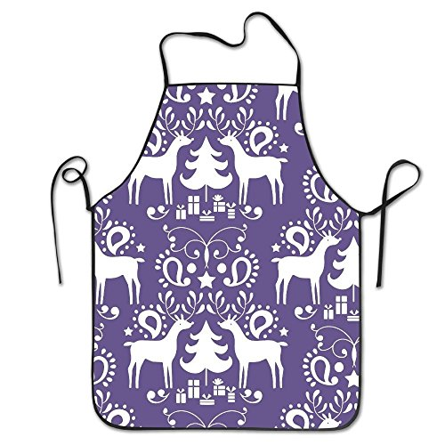 Christmas Reindeer Waterproof Durable Personalized Apron Cooking Kitchen Apron Bib Apron For Women Men Adults Chef ()