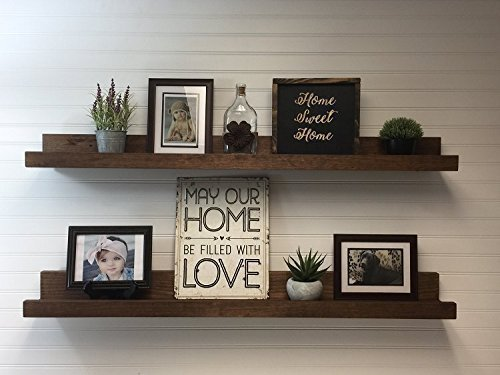 Amazon Com Rustic Wooden Picture Ledge Shelf Choice Of 12 To 60