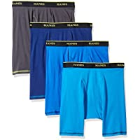 Hanes Men's 4-Pack Cool Comfort Breathable Mesh Long Leg Boxer Brief