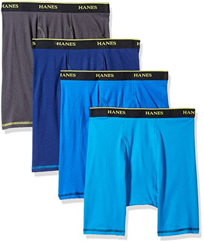Hanes Men's 4-Pack Cool Comfort Breathable Mesh Long Leg Boxer Brief, Assorted, Large