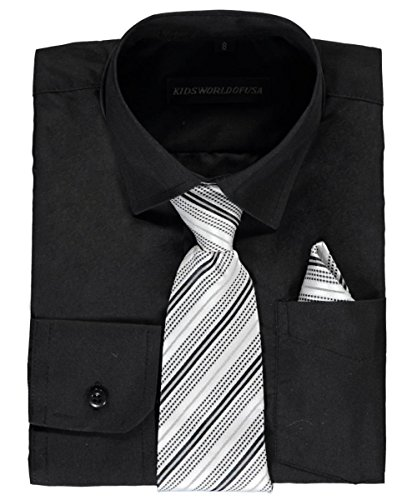 Kids World Big Boys' Dress Shirt With accessories - Black, 12