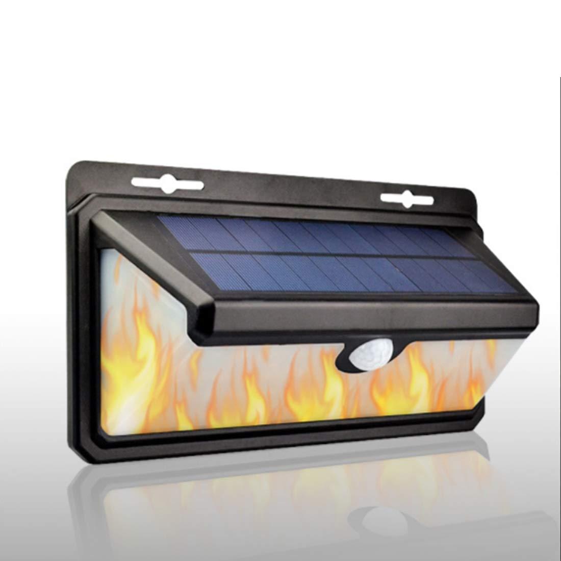 JUNFELICIA Luci della Parete Solare, Flickering Fiamma Impermeabile Luci 158 LED 3 modalità Luci di Sicurezza per Patio, Deck, Yard, Garden (Colore   Cold bianca+Flame)