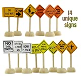 Toy Wooden Road Construction Traffic Sign Set; Street Signs Compatible w/ Matchbox, Hot Wheels, Other Diecast Vehicles & Wood Cars & Toys