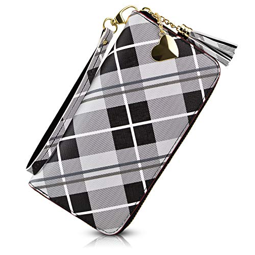 Women's Long Leather Card Holder Purse Zipper Buckle Hit Color Wallet (Black grid) (Iphone 5 Case Paper Towns)