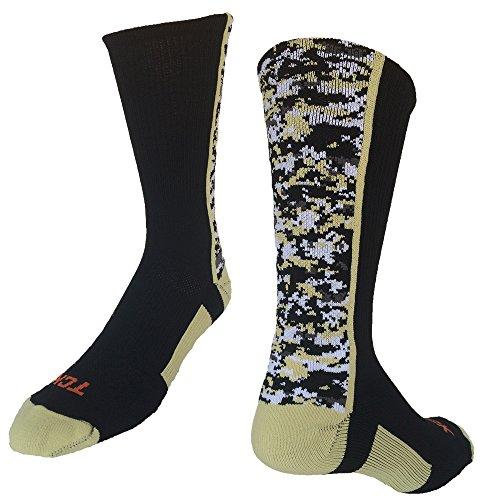 - TCK Sports Digital Camo Crew Socks (Black/Vegas Gold, Small)