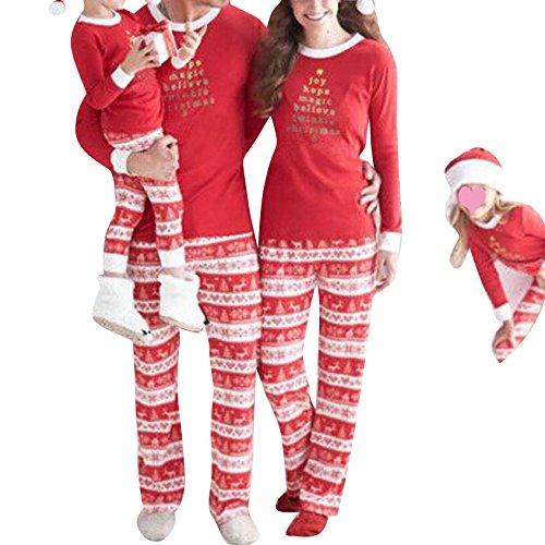 Hibote Conjunto de Pijamas a Juego de Navidad Familiar 2 Piezas/Conjunto Ropa de Noche