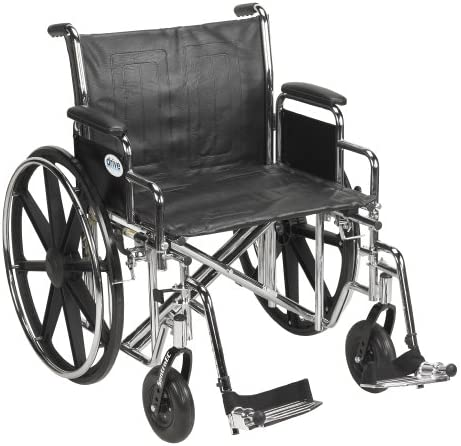 "Drive Medical Sentra EC Heavy Duty Wheelchair with Various Arm Styles and Front Rigging Options, Black, Bariatric 22"" (STD22ECDDA-SF)"
